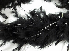 "Black Chandelle Feather Boa Silver Tinsel 72"" 6 Ft Masquerade or Shower 60 gm"