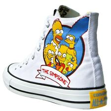 CONVERSE ALL STAR CHUCKS EU 41,5 GB 8 BART HOMER SIMPSONS BLANCO LIMITED EDITION