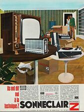 PUBLICITE  SONNECLAIR TELEVISEUR PICK UP  MOBILIER  DESIGN 60' - 70'   AD  1966
