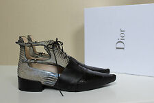 New sz 9.5 / 40 Christian Dior Embossed leather Nomade Lace up Ankle Boot Shoes
