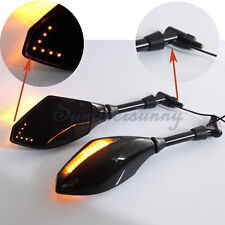 Black 8mm 10mm Motorcycle Scooter Rear Mirrors LED For Honda Suzuki Kawasaki US