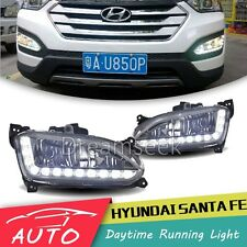 Pair LED DRL Daytime Running Light For Hyundai IX45 Santa Fe 2013 2014 Fog Lamp