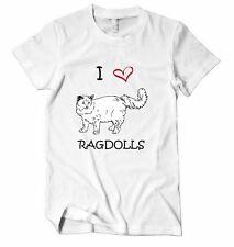 I LOVE HEART RAGDOLLS RAGDOLL CATS Unisex Adult T-Shirt Tee Top