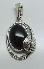 new hand set Whitby Jet and 925 Sterling Silver Pendant oval