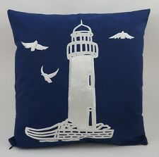 "Nautical Embroidered Pillow Cover - Lighthouse - 18"" x 18"" - Navy - Beach Decor"