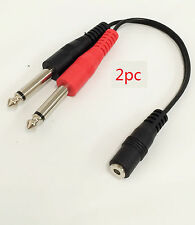 2pc. - 3.5mm Female TRS to Dual 1/4in TS Stereo Breakout Y-Cable