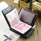 Men's Cowhide Leather Bifold Credit ID Card Holder Purse Wallet Bill Money Clip