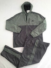 NEW ADIDAS GYM FITNESS ESSENTIAL WOVEN TRACKSUIT JACKET PANTS GREEN MENS XL