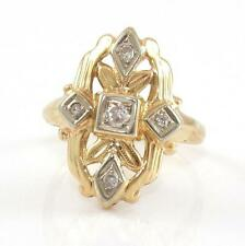 Vintage Estate Solid 14K Yellow Gold 0.10ctw Natural Diamond Ring Size 4