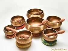 NEPALESE HAND MADE SEVEN CHAKRA COMPLETE SET SINGING BOWL WITH AMAZING SOUNDS