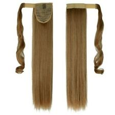 Real Quality Clip in Hair Extensions Wrap On Ponytail Straight Wavy As Human Nkk