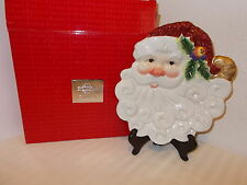 FITZ AND FLOYD ESSENTIALS CHRISTMAS SANTA CANAPE SNACK COOKIES PLATE NEW IN BOX