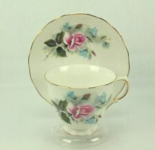 Ridgway Queen Anne Pink Roses Blue Flowers China Tea Cup & Saucer ENGLAND