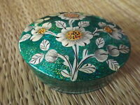 Hand painted kashmir papier mache oval sea green glitter floral trinket box