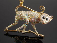 Betsey Johnson AB rhinestone monkey pendant necklace # B180