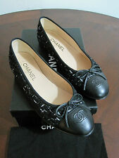 NIB Authentic CHANEL Black Leather/Tweed Flats US SZ 8.5 EUR 39.5 Italy