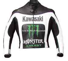 KAWASAKI MOTORCYCLE LEATHER RACING JACKET CE APPROVED TPU ARMOR ALL SIZES