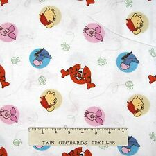 Flannel Fabric - Winnie the Pooh Dot Toss White - Springs YARD