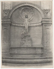 Large 1915 PPIE Photo of Statue of Nude Girl in Niche by Cardinel Vincent Co