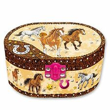 Dashing Horse Jewelry Music Box Musical Oval Shape Girls Twirling Storage New