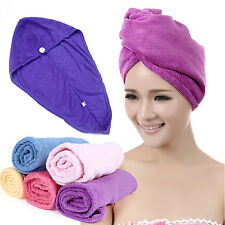 Microfiber Towel Quick Dry Hair Magic Drying Turban Wrap Hat Caps Spa Bathing CH