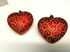 Christmas Heart Red and Gold European Glass Ornaments  (2)