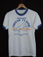 RARE Vtg 80s McDonald's Cougar Classic 10K Marathon 50/50 Ringer T-shirt S Azusa