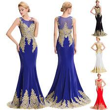 Damen Lang Applikation Abendkleid Ballkleid Brautkleid Hochzeit Kleider Gr: 46
