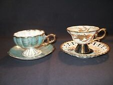 2 Royal Sealy China Japan Tea Cups & Saucers w/ Gold Trim & Swirl Colors