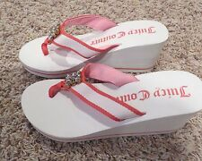 Medium 7 8 Juicy Couture White Pink Wedge Flip Flop Women's Shoes New NWOT