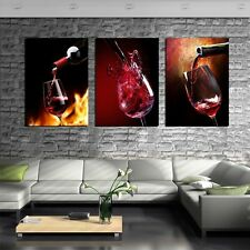 Unframed 3 Pianel Oil Painting The art of red wine Picture for Bar&Kitchen Decor