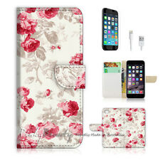 "iPhone 6 (4.7"") Print Flip Wallet Case Cover! Metro Vintage Flower P0382"