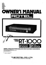 Rotel RT-1000L Tuner Owners Instruction Manual