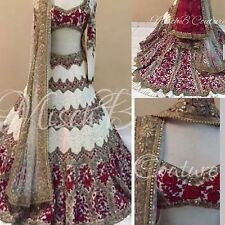 DESIGNER GORGEOUS RED AND WHITE PARTY WEAR UNSTITCHED LEHENGA CHOLI