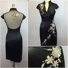 Ladies Black Stretch Satin Floral Cheong Sam Oriental Pencil Wiggle Dress UK 10