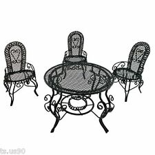 Black Wire 3 x Chairs Oval Table Set Combo 1:12 Doll's House Dollhouse Furniture