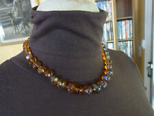 BIJOU N13 Collier perles verre type ambre VINTAGE 70 glass beads NECKLACE JEWEL