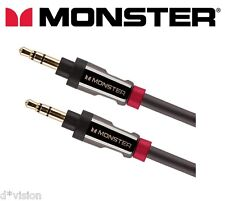 Monster® HQ Auxiliary Cable 3.5mm Stereo Jack Male Audio Aux Lead 24K Gold 3ft