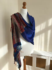 100% PASHMINA Royal Blue & Red Large Wrap Shawl Scarf : HARDLY USED