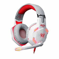 Gaming Headset Mic LED Headphones Stereo Surround for PC Laptop PS4 Xbox White