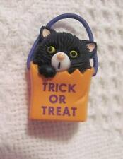 Halloween Gibson Greetings Black Kitty Cat in Orange Trick or Treat Bag Pin
