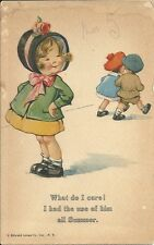 Rare Postcard, Cute Young Lady, What do I care! I had use of him all Summer.