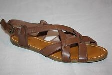 LANDS END BROWN SLINGBACK STRAPPY SANDALS FLATS WOMENS 7 B  SEE PICS MEASUREMENT