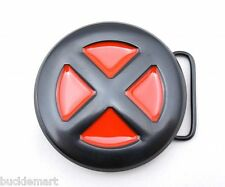 X-Men Logo Belt Buckle RED BLACK XMen All Metal enamel Xman X-Man Wolverine