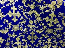 "ROYAL/GOLD METALLIC  CHURCH BROCADE FABRIC 60"" WIDE 1 YARD"