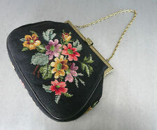GOBELIN & MESSING HANDTASCHE_1950 Germany_VINTAGE HANDBAG_NEEDLEPOINT & SUEDE