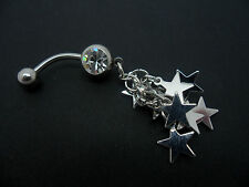 A   DANGLY STAINLESS STEEL  STARS AND CRYSTAL   BELLY BAR. NEW.