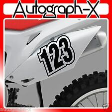 3x ACU CUSTOM RACE NUMBERS Stickers Decals Bike Motocross Trials MX Dirt bike 01