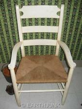 Ethan Allen Farmhouse Pine Ladderback Antiqued White Arm Chair 23 6000A