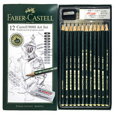 FABER CASTELL 9000 Art Set 12x Graphite Sketch Pencils with  Eraser & Sharpener